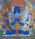 Guhysamaja has three faces and six hands, peaceful in appearance, blue-black in colour and seated in vajra posture.